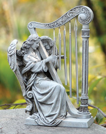 Angel with Harp Outdoor Statue