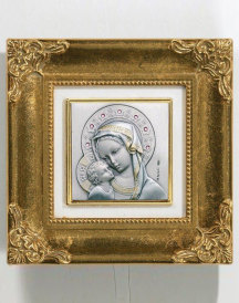 NEW Framed Sterling Silver Virgin and Child