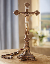 Hand Painted Altar Crucifix